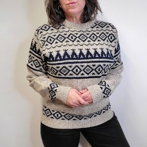 Vtg 80s LL BEAN Native TeePee Wool Sweater USA